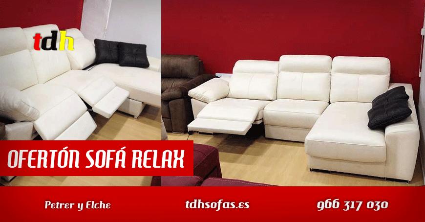 Oferta de sofa relax color blanco en tienda de Elche y Petrer