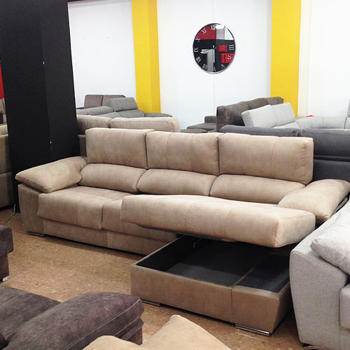 Sofa chaise longue deslizante reclinable